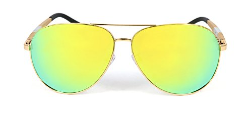 Men And Women Flexible Frame Polarized Sunglasses From QDRS, 100% UV Protection (Gold frame/Yellow green lens, - Uv Protection Sunglasses 100 Means