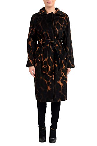 Max Mara Atelier Women's Kaiser Animal Print Camelhair Belted Coat US 10 IT 44