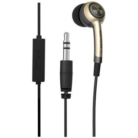 Earpollution Earbuds - iFROGZ Ear PollutionPlugz IFPLGM-SV0 - Earbuds with MIC - Gold/Tan - incl. 3 pairs of ear bud tips in sizes S/M/L