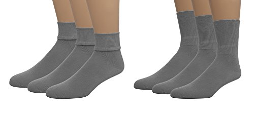 EMEM Apparel Boys Girls Baby Toddler Soft Bamboo Cotton Crew or Turn Cuff Triple Roll Socks 3-Pack Grey 2