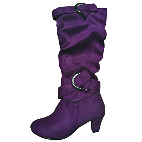 - MORNISN Women's Mid Calf Boots Kitten Heels Knee high Zipper Buckle Slouchy Shoes Winter Boots Purple