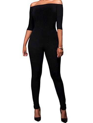 [YFFaye Women's Black Bardot Neckline Fashion Jumpsuit] (70s Jewellery Disco)