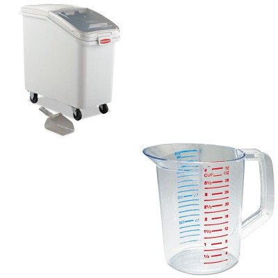 KITRCP3216CLERCP360288WHI - Value Kit - Rubbermaid-White Slant Front Ingredient Bin with Sliding Lid and 32 Ounce Scoop, 3 1/2 cu ft. (RCP360288WHI) and Rubbermaid-Clear Bouncer Measuring Cups 1 Quart (RCP3216CLE)