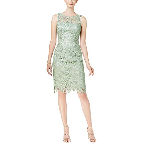 Adrianna Papell Womens Lace Above Knee Cocktail Dress Green 6 ()