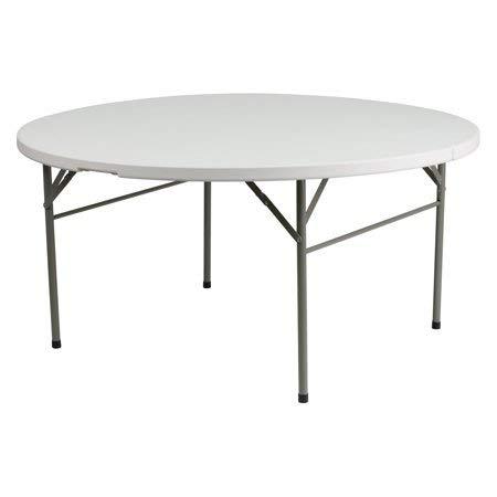 (Flash Furniture 60'' Round Bi-Fold Granite White Plastic Folding Table)