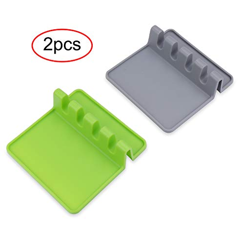 Kitchen Utensil Rest Ladle Spoon Holder for Kitchen Counter or Stove Top 2 PCS(Gray & Green) ()