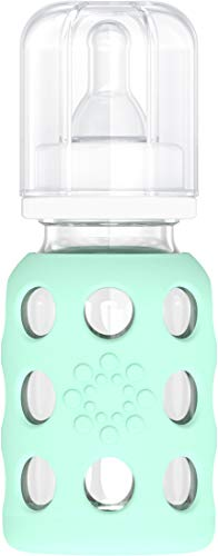 Lifefactory 4-Ounce BPA-Free Glass Baby Bottle with Protective Silicone Sleeve and Stage 1 Nipple, Mint