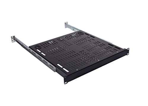 RSF1031BK11F4K1 1U 17 inch Vented Rackmount Shelf with rear adjustable bracket supports 4 post cabinet up to 25 inch ()