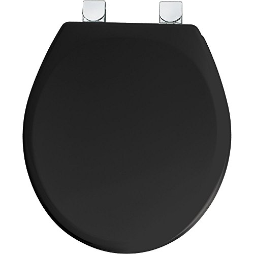 Mayfair Molded Wood Toilet Seat featuring Easy Clean & Change Hinges, STA-TITE Seat Fastening System & Chrome Metal Hinges, Round, Black, 49CPEC 047
