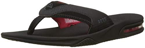 - Reef - Mens Fanning Sandals, Size: 9 D(M) US, Color: All Black/Red