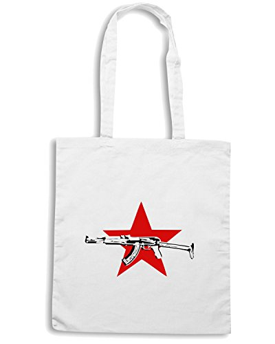 T-Shirtshock - Bolsa para la compra TCO0134 stella rossa kalashnikov Blanco