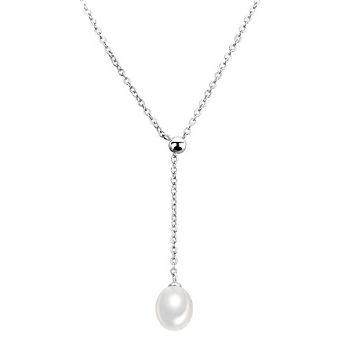 (CISHOP 925 Silver Freshwater Pearl Y Necklace Choker Oval Shape Pearl)
