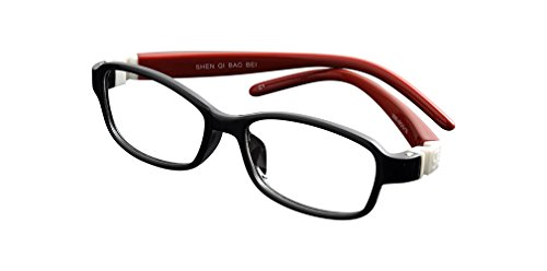 De Ding Kids Flexible Eyeglass Frames (black red) (Frames Glasses Flexible)
