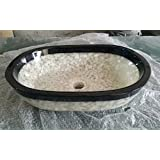 Arvind Toughened Glass Round Table Top Wash Basin (Black and White, 16 x 16 Inches)