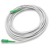 PRENDELUZ Cable Fibra ÓPTICA Universal - Color Blanco SC/APC a SC/APC monomodo simplex 9/125, Compatible con Orange…