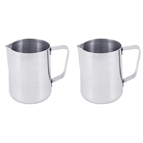 (Set of 2) 2 Quart Milk Frothing Pitcher, 66-Ounce / 2000 ml. Extra Large Milk Pitcher by Tezzorio, Stainless Steel Milk Steaming Frothing Pitchers for Espresso Machines, Milk Frother/Latte Art by Tezzorio Tabletop Service