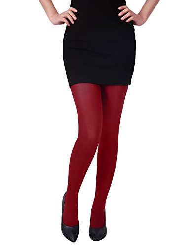 HDE Women's Solid Gradient Color Stockings Opaque Microfiber Footed Tights (Cherry Red, L-XL) ()
