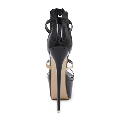 Damen Sexy Sandalen Stilett Hoch Hacke Schuhe Knöchel Gurt Gucken Zehe Schwarz Arbeit Party Kleid Nachtclub BLACK