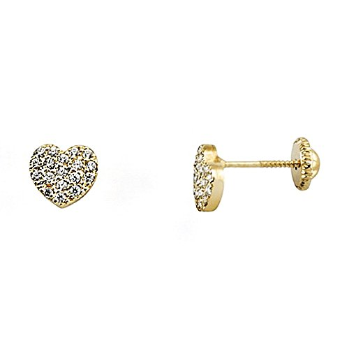 Boucled'oreille or 18k zircone cubique coeur [AA6401]
