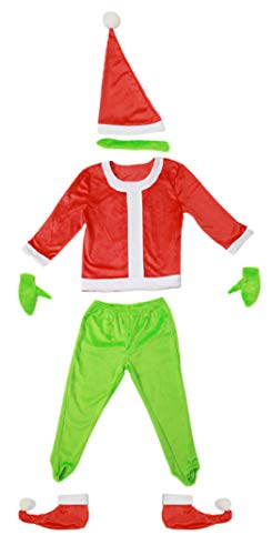(Grinch Santa Costume with Gloves Christmas for Kids S)