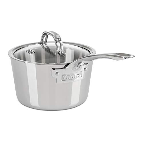 (Viking Contemporary 3-Ply Stainless Steel Saucepan with Lid, 2.4 Quart)