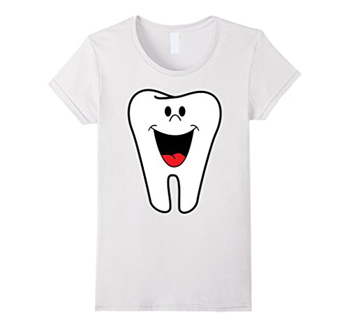 Molar Costumes (Womens Tooth Funny Costume T-Shirt Molar Loose Teeth Dentist Dental Medium White)