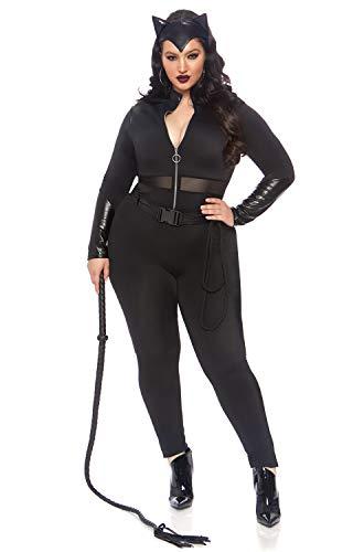 Female Villains Halloween Costumes (Leg Avenue Women's Plus Size 3 Pc Sultry Supervillain Costume, Black, 1X /)