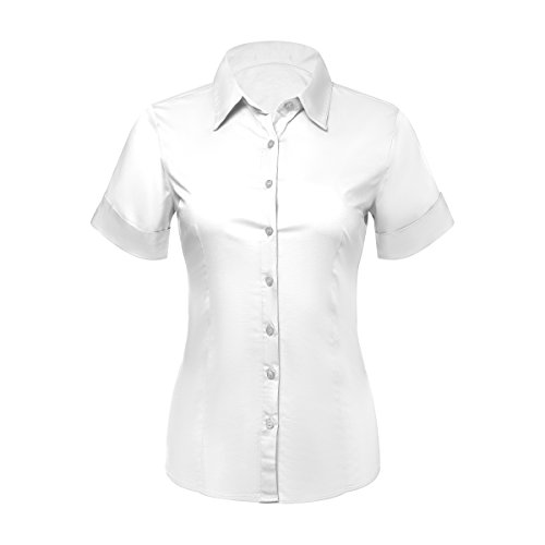 - Pier 17 Button Down Shirts for Women, Fitted Short Sleeve Tailored Stretchy Material (Large, White)