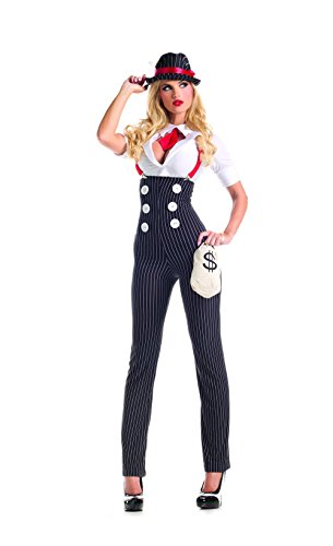 Party King Women's Heist Hottie Sexy Costume Set, White/Black, -