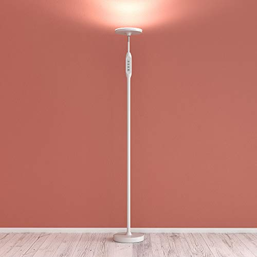 Daylight LED Floor Standing Lamp - Tall Modern Reading Task Uplight - 24W Adjustable Warm Cool Super Bright Natural Light Torchiere for Living Room, Dorm, Bedroom or Office - Dimmable ()