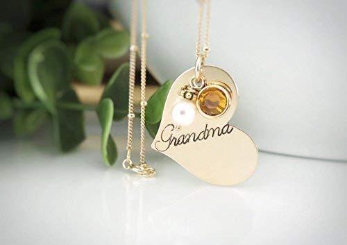 a76ea48606 Amazon.com: Gold Grandma Heart Necklace with Crystal Birthstones ...