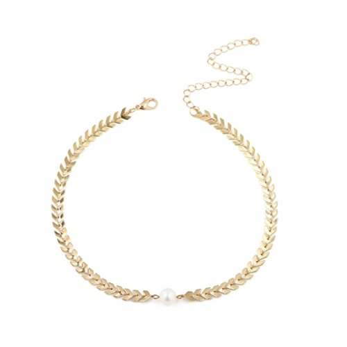 Clearance Women Chic Simulated Pearl Arrow Fishbone Chain Choker Necklace Jewelry for Ladies Teen Girl (Gold) - Fishbone Cover