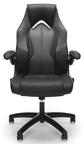 OFM Essentials Collection High-Back Racing Style Bonded Leather Gaming Chair, in Gray (ESS-3086-GRY)