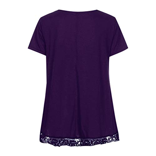 Frauit Summer Casual T corta Donna allentato con Shirt Camicetta in T pizzo camicia manica Purple collo O Patchwork Top shirt wwUqrd