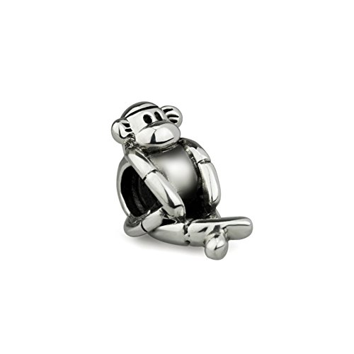 Sterling Silver Monkey Charm - Ohm Beads Sterling Silver Sock Monkey Bead Charm