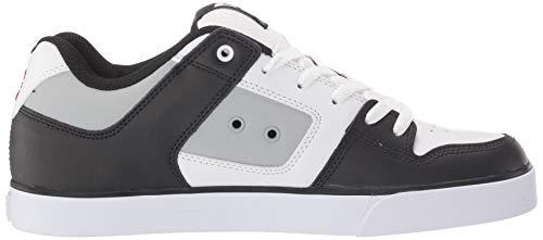 DC Men's Pure Skate Shoe, White/Grey/Black, 10.5D M US