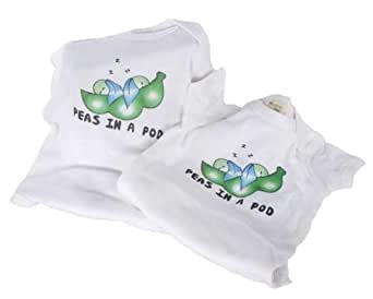 Twin Peas In a Pod - Organic - Twin Baby Bodysuit Gift Set (3-6 Months)