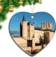 Kysd43Mill España Alcazar Castillo Segovia Forma de Corazón Adornos de Navidad Hoja de cerámica Souvenir Ciudad Viaje Colgante Regalo Árbol de Navidad Decoración Adornos Recuerdo Regalos: Amazon.es: Hogar
