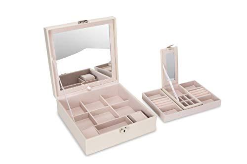 Square Jewelry Box Organizer For Women Large 2 Layer Jewelry Storage Holder Premium Gift For Girls (Beige)