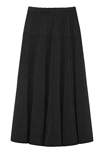 Baby'O GIRL'S (CHILDREN'S) Stretch Knit Fit and Flare A-Line Maxi Skirt, black, l