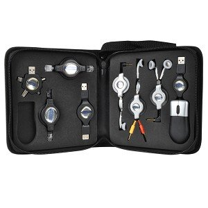 - Global Wireless ZIPPKRW 8-Piece USB Retractable Cable Kit w/Optical Mouse, RJ-45 Ethernet, Cell Phone Headset & More!