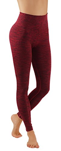 Pro Fit Yoga Pants Dry Fit Compression Workout Leggings (S/M usa 2-6, PF605-Burgundy)