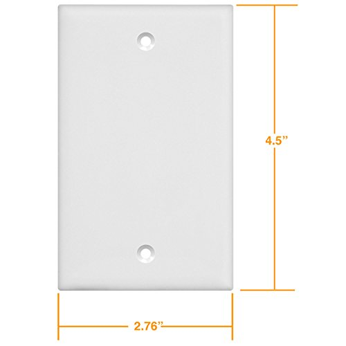 Enerlites 8801-W-10PCS Blank Cover Wall Plate, Standard Size 1-Gang, Polycarbonate Thermoplastic, White (10 Pack) by Enerlites (Image #5)