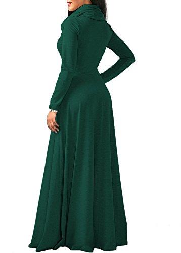 Pockets Long with Sleeve Dress Cowl Dresses Cotton Plain Womens Fall Maxi Bigyonger green Deep Neck tqaPw7fF1
