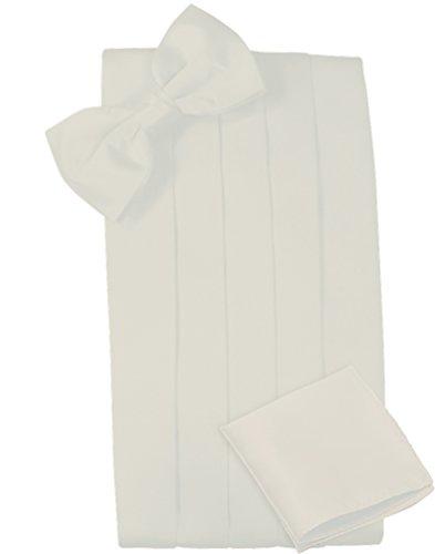 - Mens Satin Cummerbund Bowtie Hanky set, 4 Pleat, Large Variety of Solid Colors Available, by Platinum Hanger (Ivory)