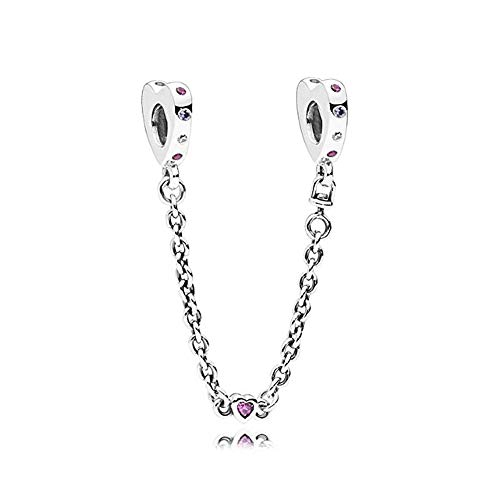Amor Heart - Romántico Amor Bright Hearts With Muti-Color Crystal Charm Silver Safety Chain Jewelry