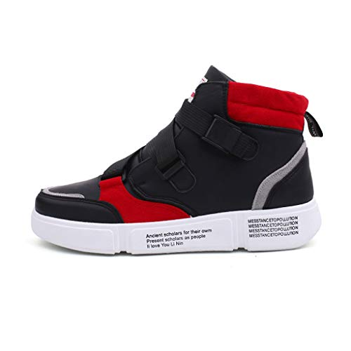 Men's High-Top Casual Sneakers,Mosunx Athletic Boys Breathable Thick Foam Bottom Stretch Cushioning Straps Sport Running Shoes Walking Shoes Movement Shoes Exercise Shoes (7.5 M US, Red)