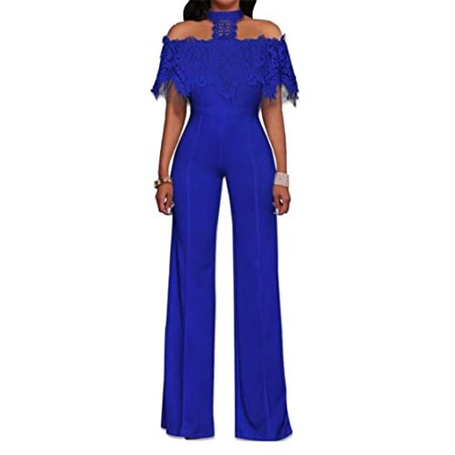 Nice Cromoncent Womens Summer Cold Shoulder Lace Cape Wide Leg Long Jumpsuits Blue US -XS