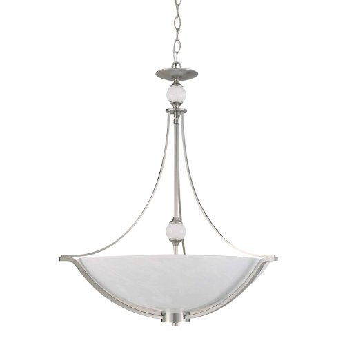 Triarch International 29462-BS Halogen VI Collection 4-Light Pendant, Brushed Steel with White Art Glass