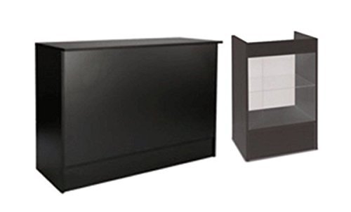Showcase Register 24'' W Stand & Flat 48'' W Counter Combo Black Retail Store Fixture Knockdown New by Bentley's Display